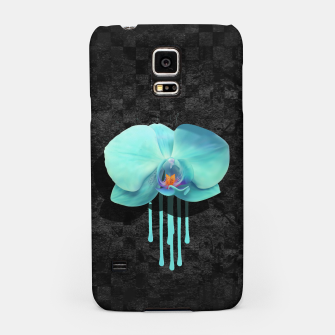 Gentle Blue Flower  on grunge checkered rust Samsung Case thumbnail image