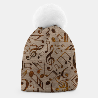 Miniatur Golden pyrography  Musical notes pattern on wood Beanie, Live Heroes