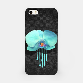 Gentle Blue Flower  on grunge checkered rust iPhone Case thumbnail image