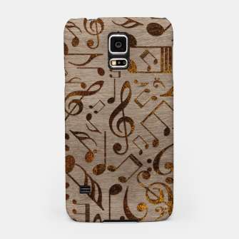 Miniatur Golden pyrography  Musical notes pattern on wood Samsung Case, Live Heroes