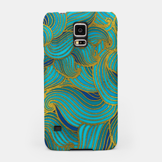 Thumbnail image of Golden Embossed  Swirl Wave Pattern on Blue Samsung Case, Live Heroes