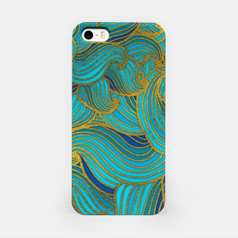 Thumbnail image of Golden Embossed  Swirl Wave Pattern on Blue iPhone Case, Live Heroes