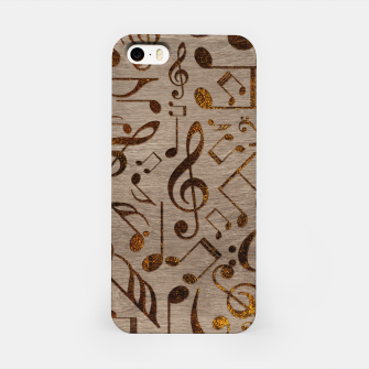 Miniatur Golden pyrography  Musical notes pattern on wood iPhone Case, Live Heroes