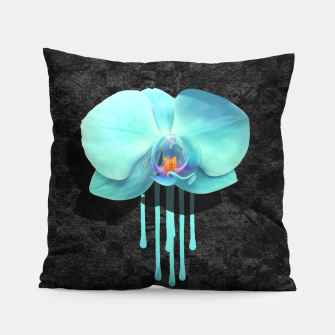 Gentle Blue Flower  on grunge checkered rust Pillow thumbnail image