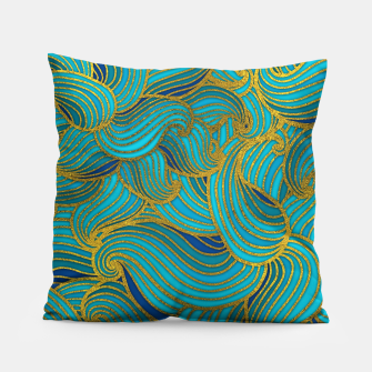 Thumbnail image of Golden Embossed  Swirl Wave Pattern on Blue Pillow, Live Heroes