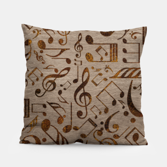 Miniatur Golden pyrography  Musical notes pattern on wood Pillow, Live Heroes