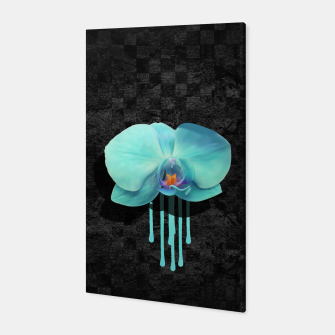 Gentle Blue Flower  on grunge checkered rust Canvas thumbnail image