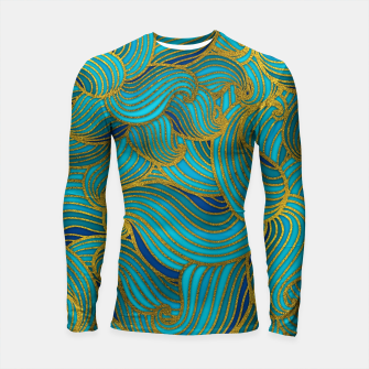 Thumbnail image of Golden Embossed  Swirl Wave Pattern on Blue Longsleeve rashguard , Live Heroes