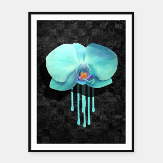 Thumbnail image of Gentle Blue Flower  on grunge checkered rust Framed poster, Live Heroes