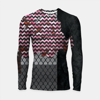 Thumbnail image of Abstract Pink Blossom tree composition on rust Longsleeve rashguard , Live Heroes