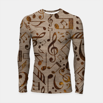 Miniatur Golden pyrography  Musical notes pattern on wood Longsleeve rashguard , Live Heroes