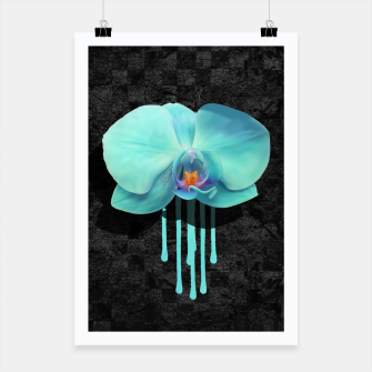 Gentle Blue Flower  on grunge checkered rust Poster thumbnail image