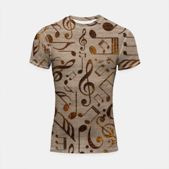 Miniatur Golden pyrography  Musical notes pattern on wood Shortsleeve rashguard, Live Heroes