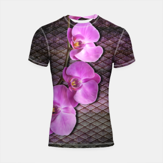 Thumbnail image of Gentle Purple Flower brunch on grunge rust Shortsleeve rashguard, Live Heroes