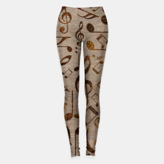 Miniatur Golden pyrography  Musical notes pattern on wood Leggings, Live Heroes