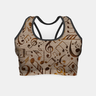 Miniatur Golden pyrography  Musical notes pattern on wood Crop Top, Live Heroes