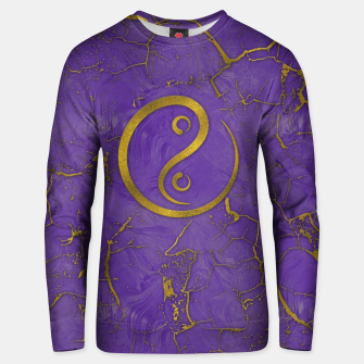Thumbnail image of Golden Embossed Yin Yang symbol  on purple Cotton sweater, Live Heroes