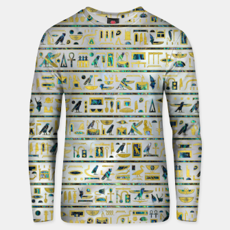 Gold and Abalone Egyptian hieroglyphs on pearl  Cotton sweater thumbnail image