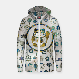 Thumbnail image of Maneki Neko Lucky cat on  pearl and abalone Cotton zip up hoodie, Live Heroes