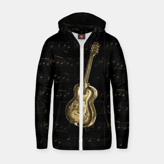 Dripping Gold  Acoustic Guitar on notes Cotton zip up hoodie thumbnail image