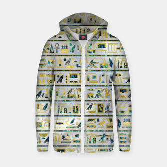 Gold and Abalone Egyptian hieroglyphs on pearl  Cotton zip up hoodie thumbnail image