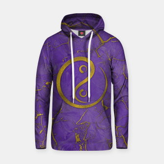 Thumbnail image of Golden Embossed Yin Yang symbol  on purple Cotton hoodie, Live Heroes