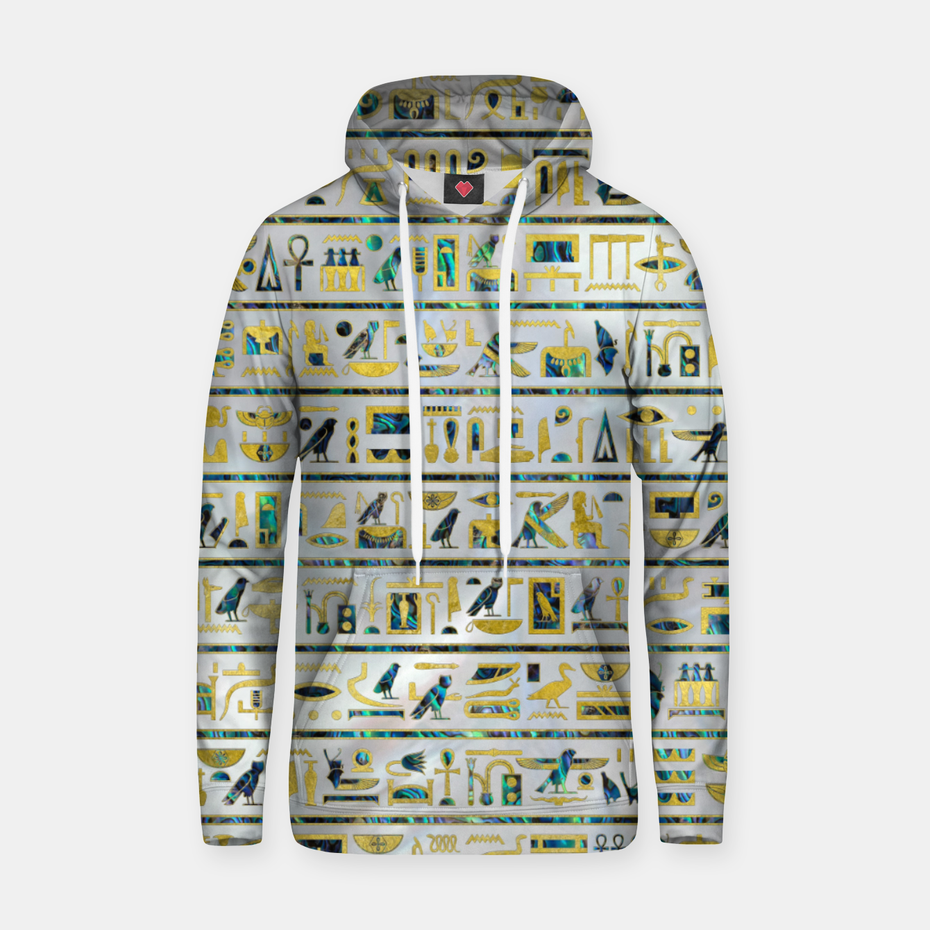 Image of Gold and Abalone Egyptian hieroglyphs on pearl  Cotton hoodie - Live Heroes