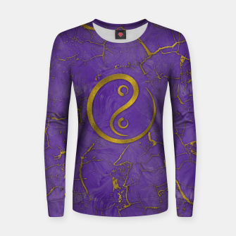Thumbnail image of Golden Embossed Yin Yang symbol  on purple Woman cotton sweater, Live Heroes