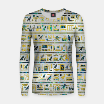Gold and Abalone Egyptian hieroglyphs on pearl  Woman cotton sweater thumbnail image