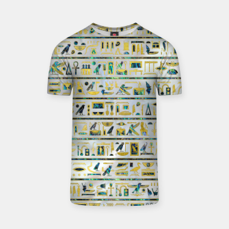 Gold and Abalone Egyptian hieroglyphs on pearl  T-shirt thumbnail image