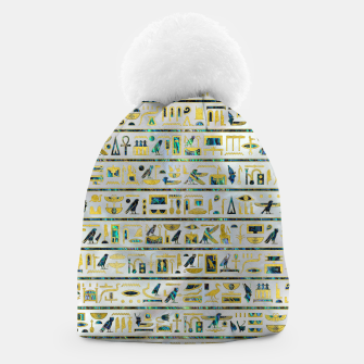 Gold and Abalone Egyptian hieroglyphs on pearl  Beanie thumbnail image