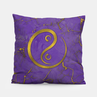 Thumbnail image of Golden Embossed Yin Yang symbol  on purple Pillow, Live Heroes