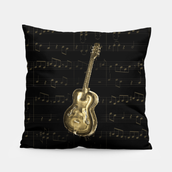 Dripping Gold  Acoustic Guitar on notes Pillow thumbnail image