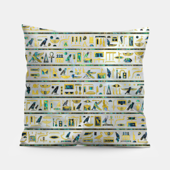 Gold and Abalone Egyptian hieroglyphs on pearl  Pillow thumbnail image