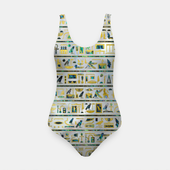 Gold and Abalone Egyptian hieroglyphs on pearl  Swimsuit thumbnail image