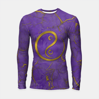 Thumbnail image of Golden Embossed Yin Yang symbol  on purple Longsleeve rashguard , Live Heroes