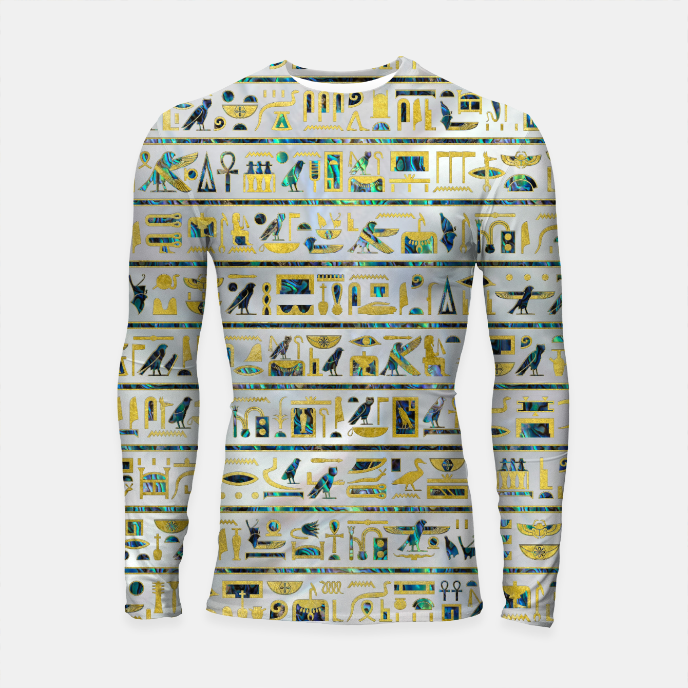 Image of Gold and Abalone Egyptian hieroglyphs on pearl  Longsleeve rashguard  - Live Heroes