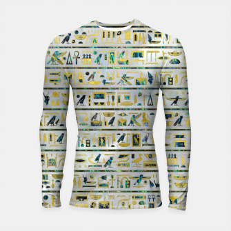 Thumbnail image of Gold and Abalone Egyptian hieroglyphs on pearl  Longsleeve rashguard , Live Heroes