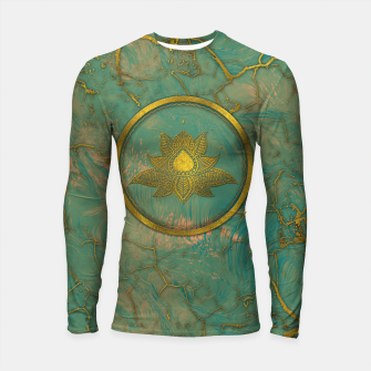 Thumbnail image of Elegant  Gold Lotus flower on marble Longsleeve rashguard , Live Heroes