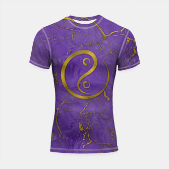 Thumbnail image of Golden Embossed Yin Yang symbol  on purple Shortsleeve rashguard, Live Heroes