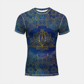 Thumbnail image of Elegant  Gold Lotus flower on blue Shortsleeve rashguard, Live Heroes
