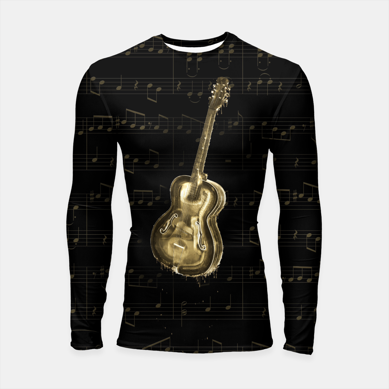 Image of Dripping Gold  Acoustic Guitar on notes Longsleeve rashguard  - Live Heroes