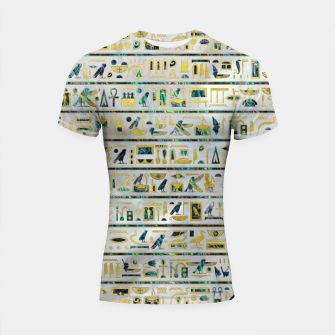 Thumbnail image of Gold and Abalone Egyptian hieroglyphs on pearl  Shortsleeve rashguard, Live Heroes
