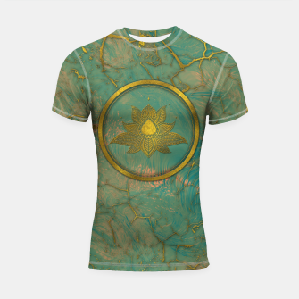 Thumbnail image of Elegant  Gold Lotus flower on marble Shortsleeve rashguard, Live Heroes