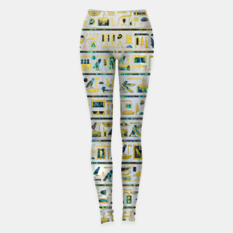 Gold and Abalone Egyptian hieroglyphs on pearl  Leggings thumbnail image