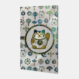 Thumbnail image of Maneki Neko Lucky cat on  pearl and abalone Canvas, Live Heroes