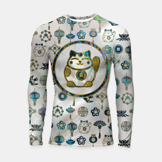 Thumbnail image of Maneki Neko Lucky cat on  pearl and abalone Longsleeve rashguard , Live Heroes