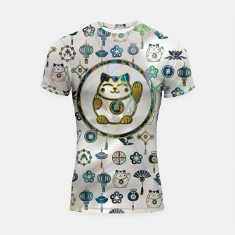 Thumbnail image of Maneki Neko Lucky cat on  pearl and abalone Shortsleeve rashguard, Live Heroes
