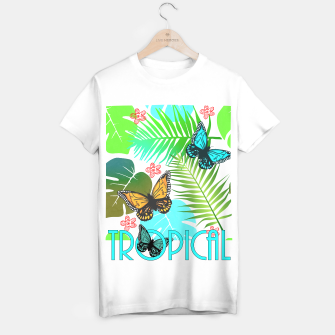 Thumbnail image of Tropical Butterflies Leaf Design T-shirt regular, Live Heroes