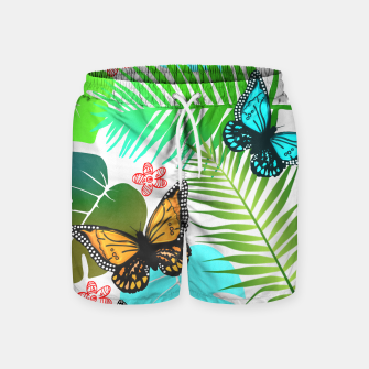 Thumbnail image of Tropical Butterflies Leaf Design Swim Shorts, Live Heroes